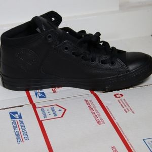 Converse Black on Black Leather Mid High Tops